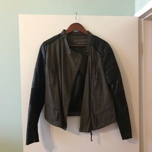 Blank NYC olive & leather moto jacket